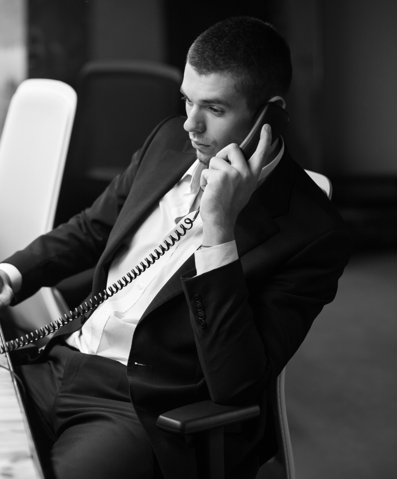 Man using VoIP System